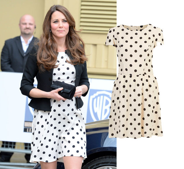 In Store Now | Kate Middleton wears Topshop People are well aware of what a style maven Kate Middleton is and this Topshop dress is another testament of how she mixes both high end and purchase friendly items into her wardrobe. The Topshop Polka dot dress is sold out online but, guess what, we have it at the STORE! Call or come by the store to get your hands on a princess approved dress.
