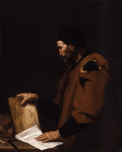 "cavetocanvas:  Jusepe de Ribera, Aristotle, 1637 From the Indianapolis Museum of Art:  Ribera's image of Aristotle is one of a series of six imaginary portraits of ancient philosophers commissioned in 1636 by the prince of Liechtenstein. Ribera's conception of Aristotle as an ordinary man wearing a scholar's skullcap and a ragged robe, a ""beggar philosopher,"" is a type that enjoyed great popularity in the 17th century. The artist's direct, naturalistic style and his dramatic use of light, both of which derive from the Italian Baroque master Caravaggio, combine to create a powerful evocation of a philosopher deep in thought. Jusepe de Ribera, born in the Valencian town of Játiva in 1591, spent his entire career in Italy, principally in Naples, which was then governed by Spanish viceroys. He frequently asserted his Spanish nationality, as he does in this painting, by adding the word ""español"" to his signature. In 1618, the year Ribera received his first commission from the Spanish viceroy, the artist Ludovico Carracci wrote with admiration of the ""young Spaniard working in the manner of Caravaggio."" The bold Caravaggesque naturalism of Ribera's work is enhanced by his achievement of a more tactile sense of physical presence, readily seen in the thickly brushed lines and creases of his philosopher's worn face and coarse hands."