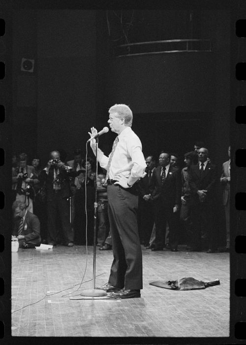 Jimmy Carter speaks at Brooklyn College during a campaign stop in 1976.