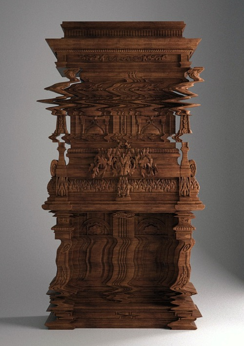Amazing wooden cabinet designed to look like an image loading glitch!