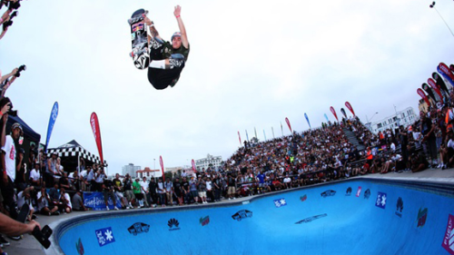 xgames:  Reigning X Games champ, Pedro Barros, with the win at the Vans Bowl-A-Rama contest in Bondi Beach. This is how you skate park: http://bit.ly/13cFi3x