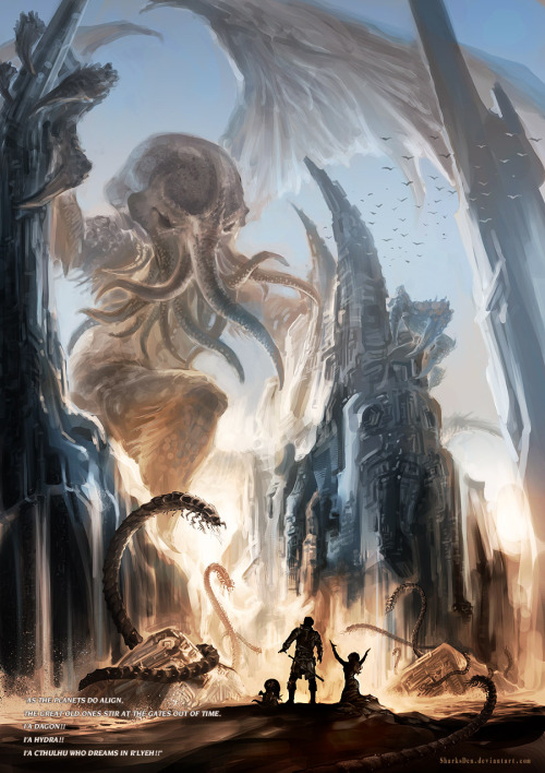 awesomedigitalart:  Cthulhu by ~SharksDen  Smoke 'em if ya got 'em!