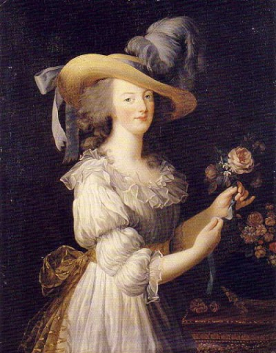 Marie Antoinette en Chemise by Madame Vigée-Le Brun, 1783 My art history professor claims that Jacques-Louis David is responsible for the shift in fashion from the ornate, structured eighteenth century garments to classically-inspired, columnal gowns of the Regency period - but I, however, credit this woman right here. I daresay a woman in power and in the public spotlight had much more stylistic influence than a man painting Roman women on the sidelines of his history paintings, no matter how beautifully rendered his paintings or how popular he was! Just as a kicker, this portrait predates David's Oath of the Horatii, showing women in Roman garb, by one year. EDIT: I meant my prof. is claiming David brought about the shift to EMPIRE/REGENCY style dresses, not that he caused the chemise/gaulle dress trend. My point is that M-A's initial popularization of the gaulle dress gradually transformed into a more relaxed, simple, and classical mode of fashion that we see in the very late 18th century and first quarter of the 19th century. There were also other factors, like an adoration of classicism (history of the Roman republic, Latin and Greek language, Roman and Greek authors, etc.) in general, and of course the French Revolution's condemnation of overtly gaudy representation as debased. I don't know about you, but if my noble friends were being killed as disgustingly ornate examples of society's downfall, I'd tone down my dress a little too!