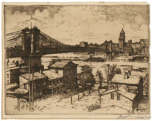 "1917 view of Cincinnati by landscape painter Edward T. Hurley, from the new exhibit ""Inventing an American Style: Prints from the Library's Collection, 1880s-1920s"". The exhibit is currently on view at Main Library until August 20th, and is also online at the Virtual Library."