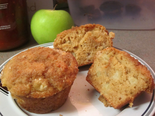 Apple Pie Muffins Muffin Ingredients: (makes 12 large muffins) · 2 ¼ cups all-purpose flour · 1 tsp baking soda · ½ tsp salt · 1 egg · 1 cup buttermilk (or 1 cup peach yogurt) · ½ cup butter, melted · 1 tsp vanilla extract · 1 ½ cups packed brown sugar · 2 cups diced apples Topping Ingredients: · ½ cup packed brown sugar · 1/3 cup all-purpose flour · 1 tsp ground cinnamon · 2 tbsp butter, melted Instructions: 1. Grease a 12 cup muffin tin. 2. In a medium bowl, stir together 2 ¼ cups flour, baking soda, and salt. 3. In a large bowl, mix together egg, buttermilk/yogurt, ½ cup melted butter, vanilla, and 1 ½ cups brown sugar until sugar is all dissolved. 4. Sprinkle the diced apple into the dry ingredients and coat slightly. 5. Sift dry ingredients and apple into wet, and stir until just blended. 6. Spoon into muffin cups, filling to the brim. 7. Melt the butter for the topping, mix dry ingredients in a separate bowl. 8. Sprinkle some of the topping onto the muffin tops, followed by drizzling with a little butter. 9. Sprinkle more topping into the butter, and repeat until muffins are fully coated. 10. Bake for 25 minutes at 375 F, until tops of muffins spring back when lightly pressed. Tips: · This didn't happen, but if the butter is really hot, wait for it to cool a little before adding to the egg. I was worried it would cook part of it. · The topping ingredients makes far too much. I would at least half what is suggested for the dry ingredients, and sprinkle on top of the muffins liberally. · I actually didn't add the butter to the topping initially and just sprinkled the dry ingredients on. It stays completely dry while baking though, so in the middle, I took the muffins out and drizzled the butter on, then added more topping.
