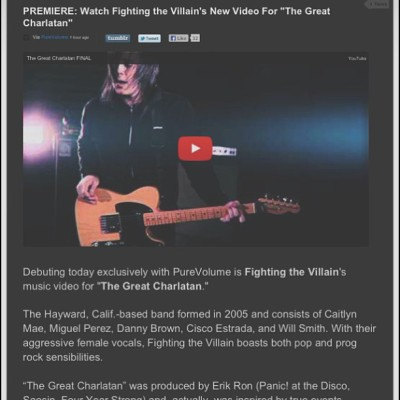 The music video is here ! Watch it now ! http://www.purevolume.com/news/fighting-the-villain-video-the-great-charlatan