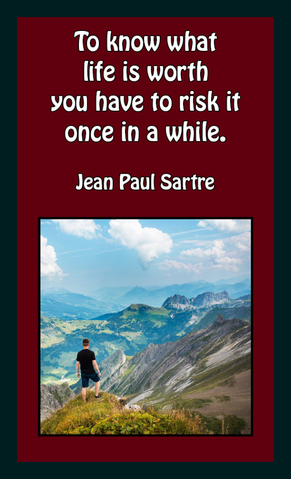 #quotes #Jean Paul Sartre  #to know what life is worth  #you have to risk in once in a while