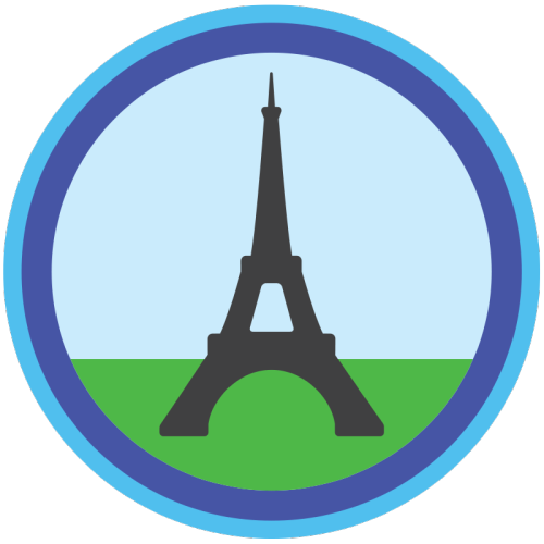 lifescouts:  Lifescouts: Eiffel Tower Badge If you have this badge, reblog it and share your story! Look through the notes to read other people's stories. Click here to buy this badge physically (ships worldwide). Lifescouts is a badge-collecting community of people who share real-world experiences online.  Kind of similar to how I've seen the Mona Lisa quite a few times, I've seen and been up the Eiffel Tower many more.  It's fun, it is, but it's one of those things you don't really do when you live in Paris, you know, just like if you live in NYC you don't really go to the top of the Empire State Building much or to the Hard Rock Café.  But we always took friends and family there, if they were in town, and one year they even had an ice skating rink set up during the winter.