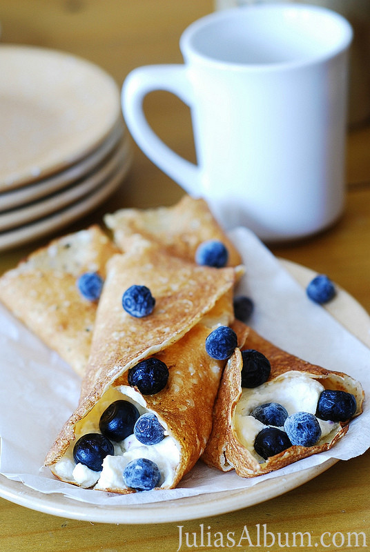 Crepes with ricotta cheese and blueberries