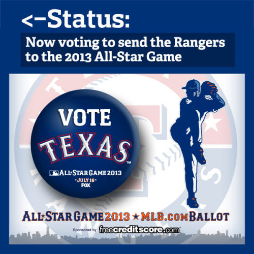 The 2013 All-Star Game ballot is now available! So what should you do?   First, go to http://atmlb.com/17XAxLz  and start voting. Then, REBLOG this so your friends know you're busy voting for your Rangers today.