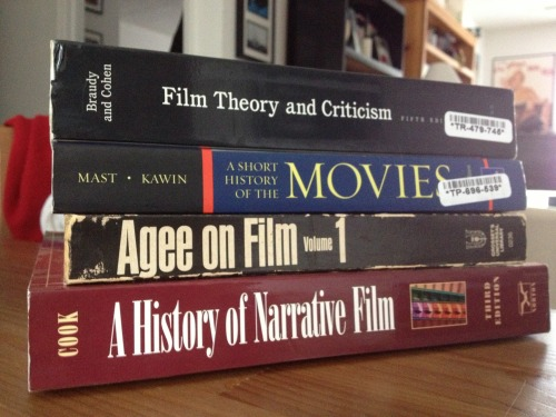 introtofilm:    Textbooks for the first course.    Really want to just sit down and read these. Except the one on top. That one looks tough.
