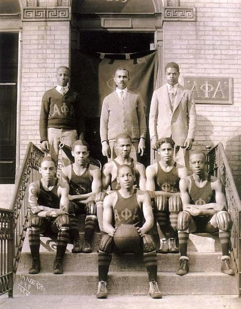 BALLERS | 1920s Alpha Phi Alpha basketball team on the steps on of there fraternity house on Striver's Row, Harlem, NYC, circa 1920s. By James Van Der Zee Via Black History Album, The Way We WereFollow us on TUMBLR  PINTEREST  FACEBOOK  TWITTER