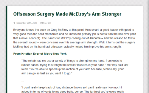 Greg McElroy says offseason hand surgery made his throwing arm stronger. Wait… what?! Well that's new.