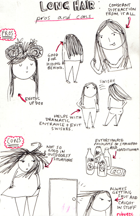 himalanya:  peachy-teen:  starrbery:  flirt-y:  chuubunnie:  rubyetc:  good evenin', here are some serious thoughts on long hair  Always getting my hair caught on something..  I always get it stuck in the car door omg  i need to get my hair cut. it takes me 20 mins to brush it  i always accidentally whip people in the face  i always get it stuck in my watch or my violin lol