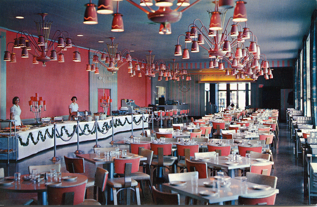 Inside the dining room of the Theatre Buffet at Jones Beach, New York