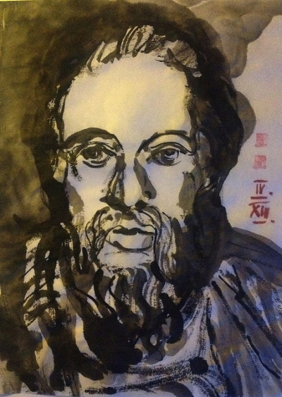 Socrates, ink on Japanese paper 24x33cm, Apr/2013 #berndblacha on Flickr.