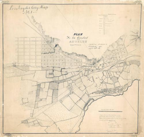 tumblangeles:  First map of Los Angeles circa 1849  (Check overlay here: http://i.imgur.com/kvccspb.jpg)  [via Reddit]