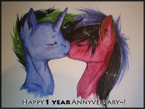 jammer-s:  I and ThatPonyUknow have now been together for a year. ^u^ Happy 1 year Anniversary, deary. ;u; <3I love you~! c://Made with watercolors and gouaches.I haven't pained nothing for more than a year, and obviously I can't do such thing that well anymore.. :'I That's also probably the crappiest and most badly  made gift, ever. Also, I noticed I've made a typo on the image. ;~;Gosh, I'm so sorry… ono; blue pony (c) ThatPonyUknow red pony & art (c) Jammer-s  aww jammy it's so cute ;u;