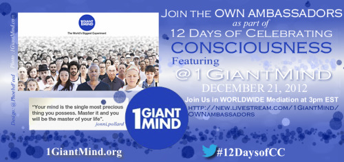 1 Giant Mind and OWN Ambassadors present 12 Days of Celebrating Consciousness - UNIFY Global Meditation on Livestream VIEW HERE https://new.livestream.com/1GiantMind/OWNambassadors
