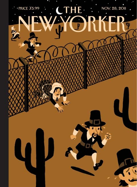 """Promised Land"". Cover for the Thanksgiving issue of The New Yorker, by Christoph Niemann, 2011. I want this guy's book…"