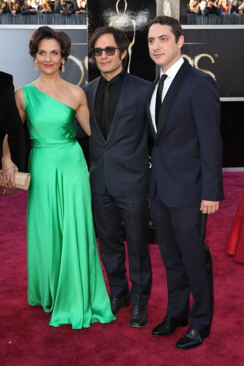 Photo: Antonia Zegers and Gael García Bernal and Juan de Dios Larraín, Oscars 2013 Red Carpet Style. Browse and share red carpet looks. http://oscars.nytimes.com/2013/photo/39940