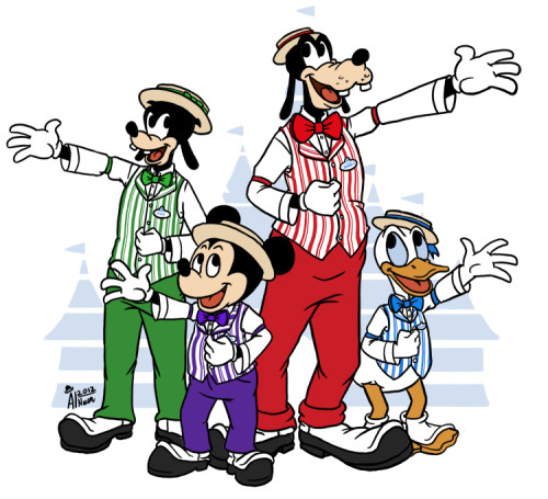 The Dapper Dans don't have nearly enough merchandise related to them - so I made some! I printed these out onto magnets and gave them to the Dapper Dans of Disneyland a couple of weeks ago. They seemed to really like them! (I meant to give them an 8x10 print of it too, but I forgot…. to…. bring it… whoops. Maybe next time!)  Also whoops there are a couple of inaccuracies to the actual outfits.