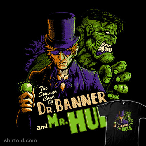The Strange Case of Dr. Banner and Mr. Hulk by harzack is $12/$14 for a limited time at Qwertee