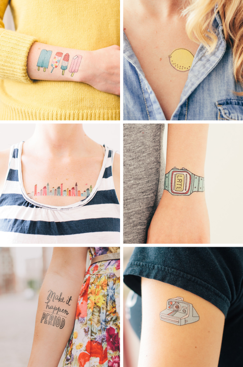 "pepperminted:  When I was younger, I used to stick temporary tattoos from bubblegum wrappers and draw stick people and houses on my skin. (I can imagine my mom's annoyance whenever she tries to remove all those doodles hahaha! :D) So when I accidentally came across a ""temporary tattoo"" online shop, I suddenly became nostalgic about my childhood naughtiness and giddy about their eye-catching designs. Hihihi :)))  Tattly is a temporary tattoo store for design-minded kids and kids-at-heart.  Mission: At Tattly, we believe that great design and art can make people happy. We believe that quality products and great customer support are the only options. And we believe that, whether for a child or an adult, every Tattly should come with a smile.  My favorites: Popsicles, Tangy Lemon, Home Row, You're Late (Blue Watch), Make It Happen & Instant Camera Check out more of their designs here: TATTLY.COM ♥"