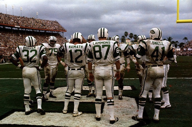 Jets quarterback Joe Namath stands in the endzone during Super Bowl III against the Colts. (Neil Leifer/SI) GALLERY: Classic Photos of the New York Jets