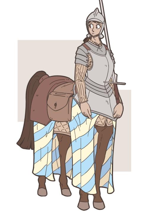 Monster Girl Centaur Horse Knight Cavalry Soldier Longsword Armor Fantasy Centauress Mythology