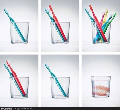 Life according to toothbrushes. | The Lolbrary - New Funny Random Pictures Added Daily on We Heart It - http://weheartit.com/entry/48444292/via/Dorine_1D