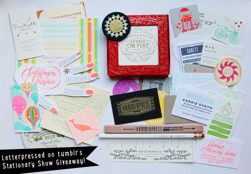 letter-pressed:  Yay! Giveaway! What you can win: - A set of Studio on Fire letterpressed coasters - Two letterpress-themed pencils, including Hammerpress and Thimblepress.  - A bunch of letterpressed business cards (Look at that amazing hand!), tokens, a Rifle Paper ruler and a Sugarcube Press Coaster.  Here's the details: - You can like and reblog this post once, that counts as two entries.  - This is a follower-only giveaway, so you must be following Letter-pressed.tumblr.com in order to enter and win. - This is an international giveaway- anyone can enter! - Shipping will be paid for by me. - The giveaway will end June 10th.  Any questions? Message me! Good luck!
