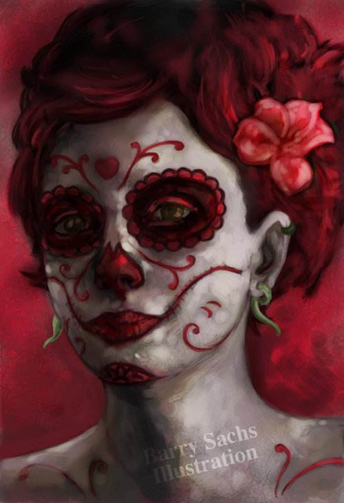 sachsillustration:  Day of the Dead Portrait commission. Print available at: https://www.etsy.com/listing/125079882/day-of-the-dead-13x19-signed-print Commissions are open to anyone that wants to be turned into a monster/creature or day of the dead.  Barry's taking commissions. And hey look, they are fanfuckingtastic. He made me a Day of the Dead girl and I love it.