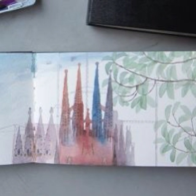 """I remember painting """"La Sagrada Familia"""" in Barcelona, Spain. I was across a small pond in front of the church at a local park. I remember being """"at peace"""" and """"in the moment"""" where time stood still, I wasn't hurried. It was just me, my sketchbook, my brushes, my watercolor, the church and Barcelona. Have you ever had one of those moments? #moleskine #sagradadefamilia #backpacking #barcelona #spain #drawing #sketchingwhiletravelling #watercolor #europe #beinginthemoment #unhurriedsketches #art"""