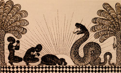 venusmilk:  Three Black Women Before a Serpent: Illustration for   The Tent1921 by Nicholas Kalmakoff (source)