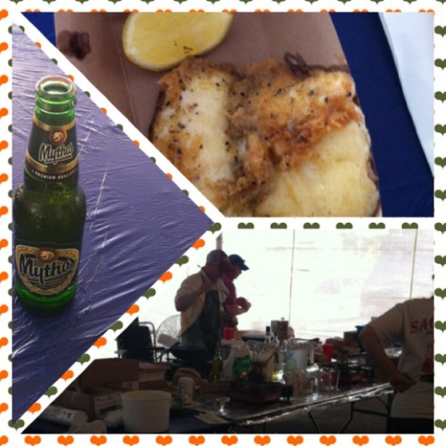 It's all GREEK to me. #mythos Greek beer #saganaki flaming cheese #foodieheaven #memphisiay #greekfest #daddydate  (at Annunciation Greek Orthodox Church)