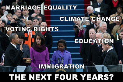 President Obama's inaugural address was the first glimpse of his plans for the next four years. In one particular paragraph, he specifically mentioned equal pay, marriage equality, climate change, voting rights, immigration and education. What did you think of the speech and what are you looking for in the year ahead? LIKE if you agree with these priorities and COMMENT if you want other ones…  For today's full translation, click here!