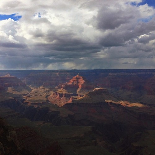 tywhite:  The Grand Canyon had the strangest mix of weather I've encountered since Denver — at times it was mid-60s and glorious, but most of the time it was storming. At one point I was even pelted by hail headed sideways. It made for difficult pictures, and wasn't particularly inviting for camping, so I wound up heading down to Flagstaff for the night. Thankfully I've been greeted by delicious local beer and lovely people.  Wow. Can't wait to go here in July.