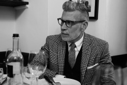 Nick Wooster in greyscale. Shot by @Sartorialist View post: http://www.thesartorialist.com/photos/the-sartorialist-lunch-for-25-edition-iii-preview-3/