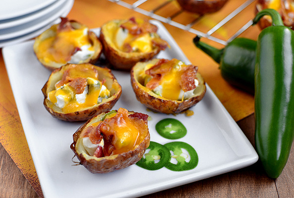 Roasted Jalapeno Popper Potato Skins