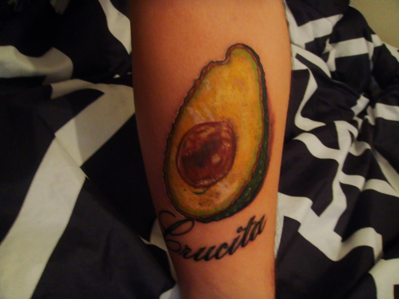 My newest tattoo. I wanted something of food since I am a cook and finishing up culinary school in the fall. I thought of an avocado and my grandmother. I have got more close to my grandmother and realized I have a lot of her side of genes in me. She has been through so much and is still alive and well. To me she makes the best Puerto Rican food in the city of Chicago. And she always cuts up an avocado and puts in her rice.