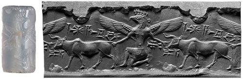 centuriespast:  Griffin Demon Grasping BullCylinder seal and impressionMesopotamia, Middle Assyrian period(ca. fourteenth century B.C.) The Morgan Library
