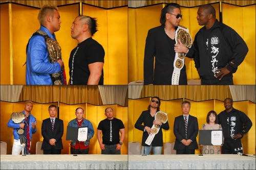 "[NJPW News] New Japan held the official signing ceremony for their upcoming iPPV that is scheduled for tomorrow, May 3rd.The event will be offered on USTREAM for $25. That should be 4am eastern and 3am central time respectively for those of you in the USA. Also keep in mind that the event will be available for replay for a few days following the initial live stream of the show.http://www.ustream.tv/njpwThe event has 9 matches scheduled, with 1 dark show pre-match also scheduled. Four out of the nine matches will also be with the IWGP titles on the line.The show will be showcased by a double main event that will pit CHAOS vs. Suzuki-gun (Suzuki Army).""Rainmaker"" Kazuchika Okada will be looking to kick off his second IWGP Heavyweight reign by claiming his first successful defense against ""The Ultimate Invader"" Minoru Suzuki. Suzuki has had issues against Okada for the last several months, specifically, and he aims to continue showing he has the edge over the younger Okada.Shinsuke Nakamura will be defending the IWGP IC belt, in the semi-final match of the night, against Shelton Benjamin. Benjamin appeared last month as the new mystery member of Suzuki-gun.Benjamin is a former multi-time IC champion in the WWE and could be Nakamura's toughest challenge yet for the belt. Nakamura's main goal has been to make the IC meaningful and a potentially successful defense against a world class wrestler could indeed boost his reign.Masato Tanaka will be defending the NEVER Openweight Championship against the returning Tomoaki Honma, in what is posed to be a rematch from the December 23, 2011 for the IWGP IC belt. Honma has came back to NJPW with a new sense of purpose and looks to reclaim his past lose.KES will be defending the IWGP Tag belts in a 4 way match against several top teams. KES recently added the NWA World Tag belts to around their waist at the April 20th NWA show in Houston and are looking to continue their winning streak.Prince Devitt recently debuted his new demeanor at last months iPPV show and formed the beginnings of his new team with Bad Luck Fale, formerly King Fale. With the formation of this new group came the dissolution of Apollo55. There has been plenty emphasized of a new ""unit/group"" and it seems there could potentially be more people to join and make it a real group.The opening bout will see the IWGP Jr. Tag belts on the line as KUSHIDA and Alex Shelley will once again be putting the belts on the line against Rocky Romero and Alex Shelley. These two teams have faced off numerous times in the past and this should definitely be an exciting match to kick off what is sure to be a solid event.Below is the scheduled matches for the iPPV. NJPW ""WRESTLING DONTAKU 2013"", 5/3/2013 [Fri] 17:00 @ Fukuoka Kokusai Center (0) Yuji Nagata, Jushin Thunder Liger, Tiger Mask IV & Maximo [CMLL] vs. Tomohiro Ishii, YOSHI-HASHI, Jado & Gedo (1) IWGP Junior Tag Championship Match: [34th Champions] ""TIME SPLITTERS"" KUSHIDA & Alex Shelley vs. [Challengers] ""Forever Hooligans"" Rocky Romero & Alex Koslov (2) Fale's Return Match: Ryusuke Taguchi & Captain New Japan vs. Prince Devitt & Bad Luck Fale (3) IWGP Tag Championship 4WAY Match: [Champions] ""KES"" Lance Archer & Davey Boy Smith Jr. vs. [Challengers] ""TenCozy"" Hiroyoshi Tenzan & Satoshi Kojima vs. ""Muscle Orchestra"" Manabu Nakanishi & Strongman vs. ""CHAOS"" Toru Yano & Takashi Iizuka (4) NEVER Openweight Championship Match: [1st Champion] Masato Tanaka vs. [Challenger] Tomoaki Honma~ 3rd defense (5) Togi Makabe vs. Yujiro Takahashi (6) Hirooki Goto vs. Katsuyori Shibata (7) Hiroshi Tanahashi vs. ""The Machine Gun"" Karl Anderson (8) Double Main Event I ~ IWGP Intercontinental Championship Match: [4th Champion] Shinsuke Nakamura vs. [Challenger] Shelton Benjamin~ 8th defense. (9) Double Main Event II ~ IWGP Heavyweight Championship Match: [59th Champion] Kazuchika Okada vs. [Challenger] Minoru Suzuki~ 1st title defense.http://www.puroresuspirit.com/2013/05/02/new-japan-event-cards-for-may-june-2013/"