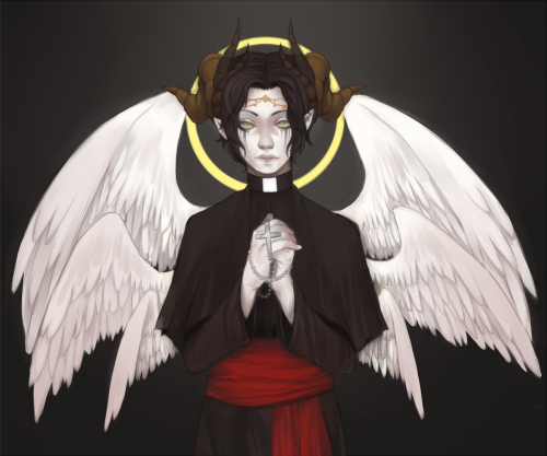 lohau:  commission for lucifer @ subeta praise be i am done painting this yeeee