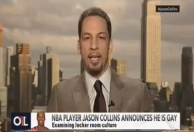 "ESPN NBA reporter Chris Broussard didn't just attack Jason Collins' homosexuality today, he attacked his religious beliefs — WHICH IS CRAZY!! (Chris Broussard, you are crazy.) In the Sports Illusrtrated article in which he came out today, Collins also discussed his religious upbringing:  I'm from a close-knit family. My parents instilled Christian values in me. They taught Sunday school, and I enjoyed lending a hand. I take the teachings of Jesus seriously, particularly the ones that touch on tolerance and understanding.  Broussard, a Christian, said in his comments that a person living a homosexual lifestyle could not, well, possibly be characterized as a good Christian like him, too:   ""… Personally, I don't believe that you can live an openly homosexual lifestyle or an openly premarital sex between heterosexuals, if you're openly living that type of lifestyle, then the Bible says you know them by their fruits, it says that's a sin. If you're openly living in unrepentant sin, whatever it may be, not just homosexuality, adultery, fornication, premarital sex between heterosexuals, whatever it may be, I believe that's walking in open rebellion to God and to Jesus Christ. I would not characterize that person as a Christian because I do not think the Bible would characterize them as a Christian.""  Hear the rest of Broussard's rant here if you like."