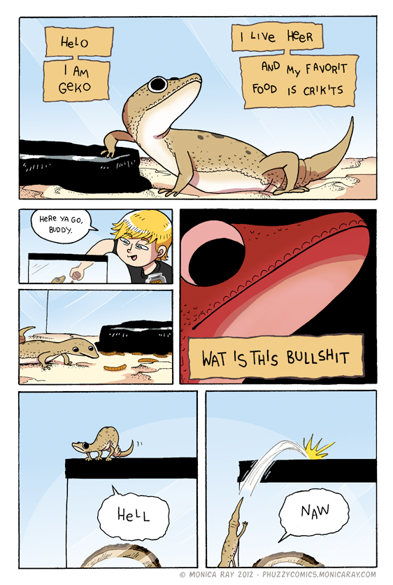 thefrogman:  Gecko Comic by Monica Ray [website | tumblr | deviantart] [h/t: the-goggles]