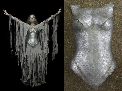 "DIY Dark Galadriel Costume Tutorial by penwiper at Entropy House here. The breastplate is made from a cheap half form mannequin and round sticker labels - seriously!I googled ""half form mannequin"" and found one for $4.90 here - so they are easy to find. The rest of the paints, puffy paint and Rub'n'Buff can be found at any craft store."