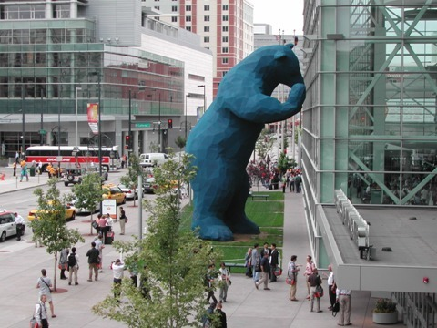 Sculptures + Architecture Big Blue Bear by Lawrence Argent,Colorado Convention Center, Denver Flash:Light by SOFTlab, New Museum, New York City Giant Buddhas on Building, Jinan, China