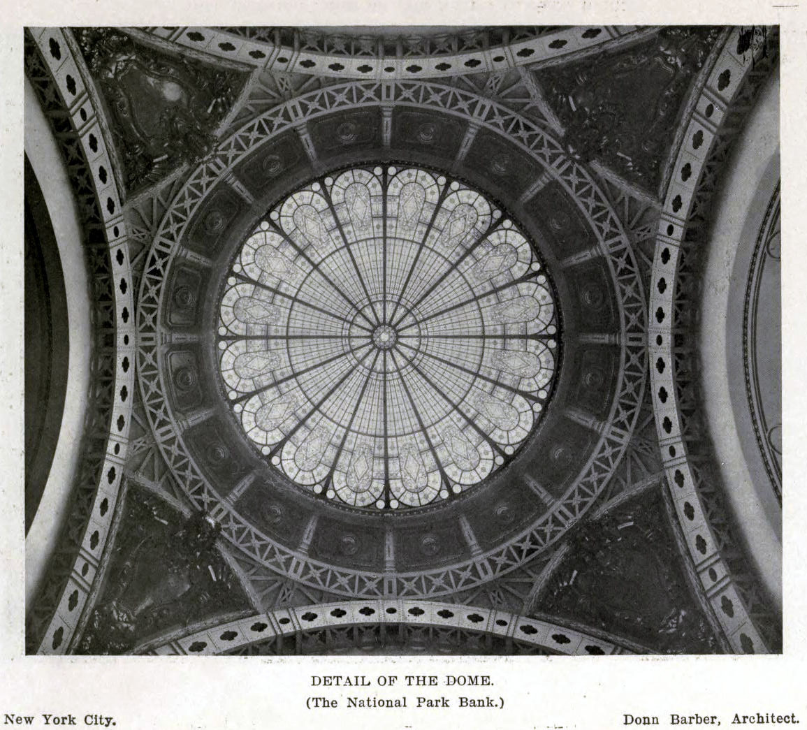 The dome of the National Park Bank, New York City