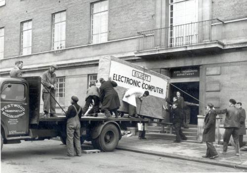 Norwich City Council's first computer being delivered